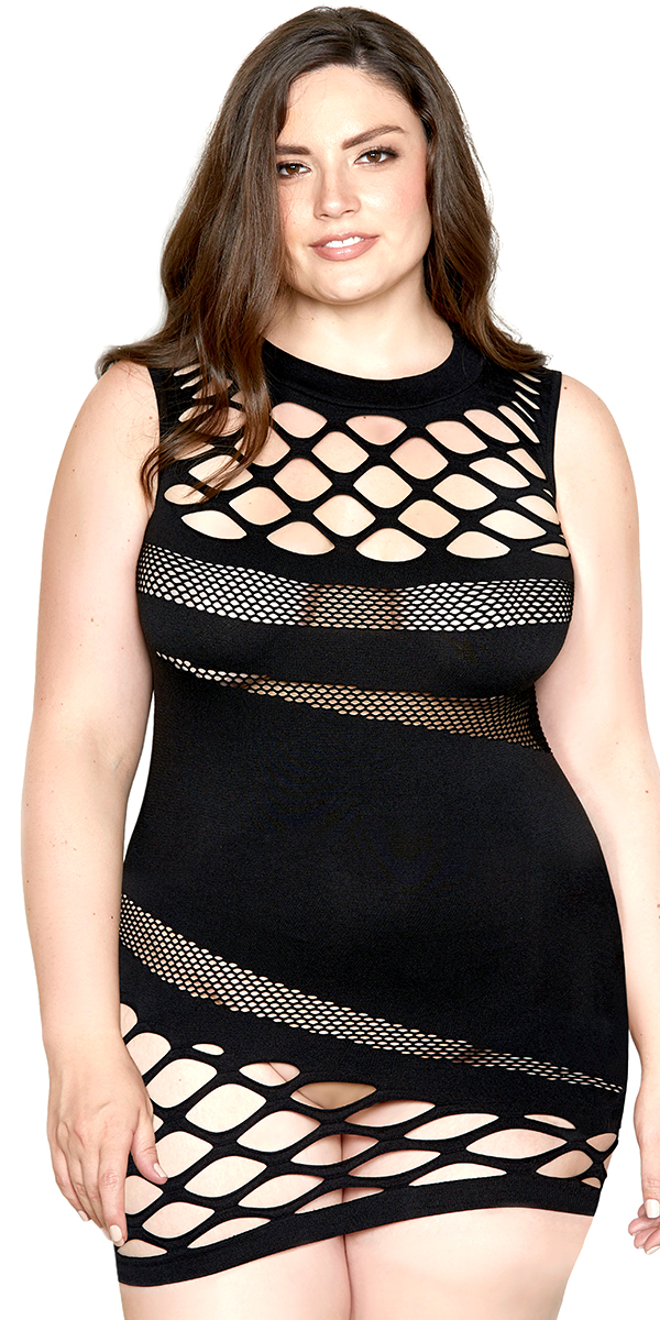 black fishnet mesh chemise with cut-out holes sexy curvy women's lingerie
