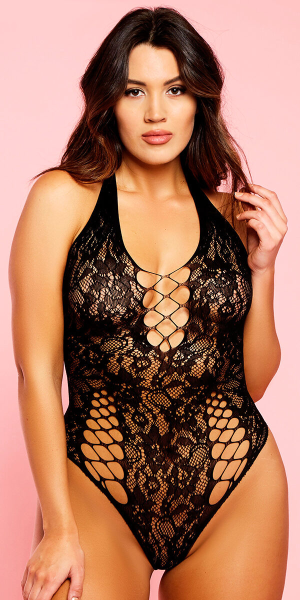 plus size black minx teddy with cut-out holes sexy curvy women's lingerie
