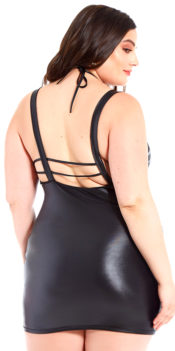plus size black pleather strappy chemise with choker sexy women's curvy lingerie vinyl