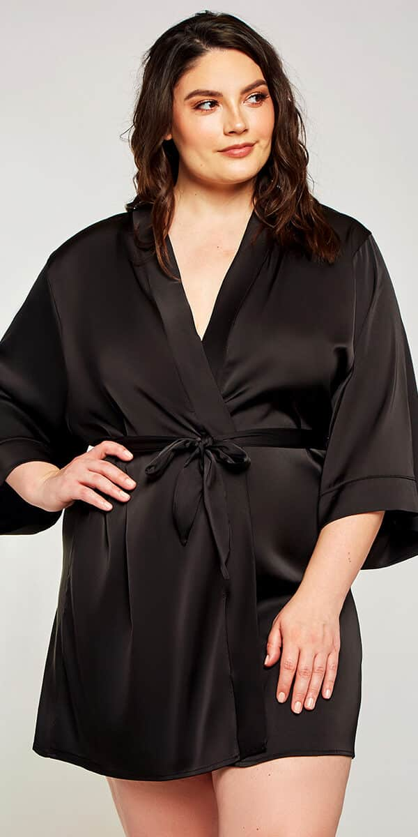 plus size black satin lace insert robe sexy curvy women's loungewear