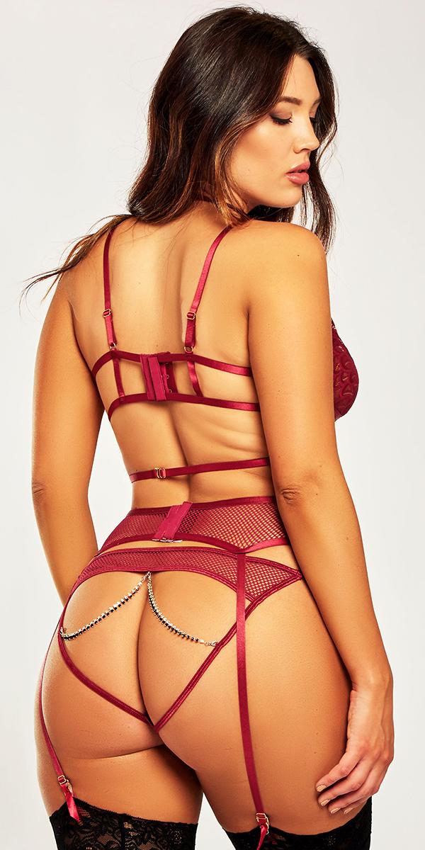 plus size burgundy mesh lace strappy bra set sexy curvy women's intimates