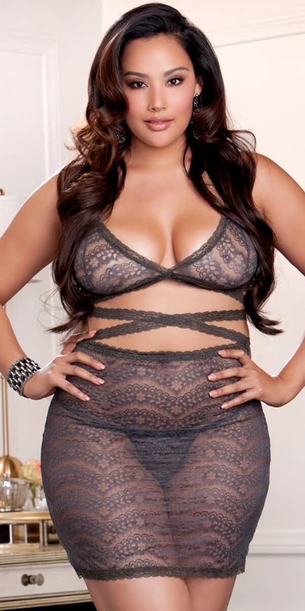 plus size grey strappy lace bralette and skirt set sexy curvy women's intimates