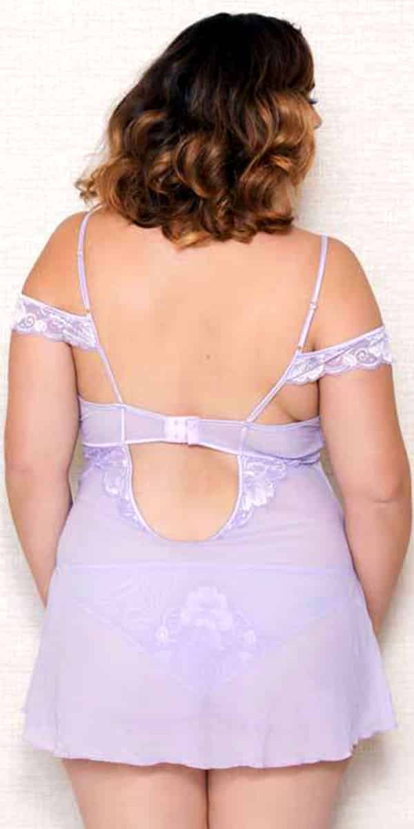 plus size lavender lace mesh chemise with g-string sexy curvy women's lingerie
