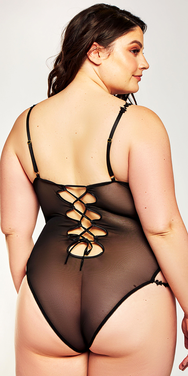 plus size nude and black satin lace teddy sexy curvy women's lingerie