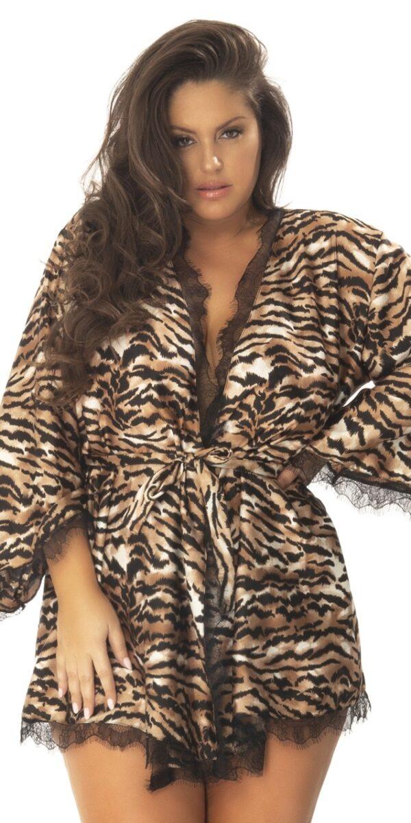 Tiger Print and Eyelash Lace Robe