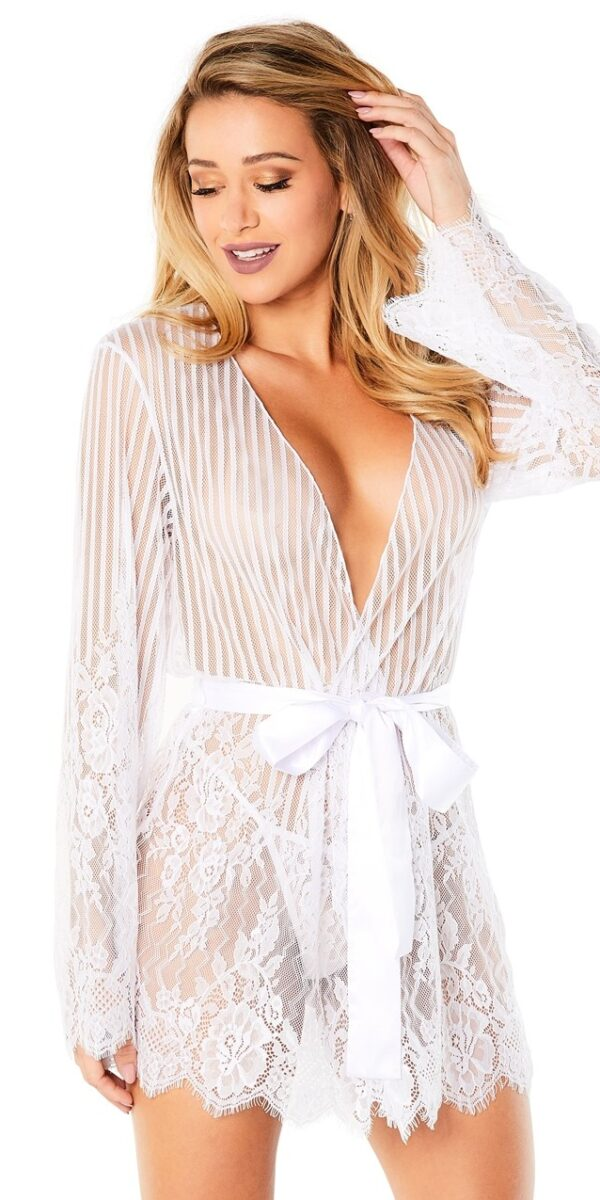 STRIPED EYELASH LACE ROBE WITH FLORAL LACE DETAILS & G-STRING