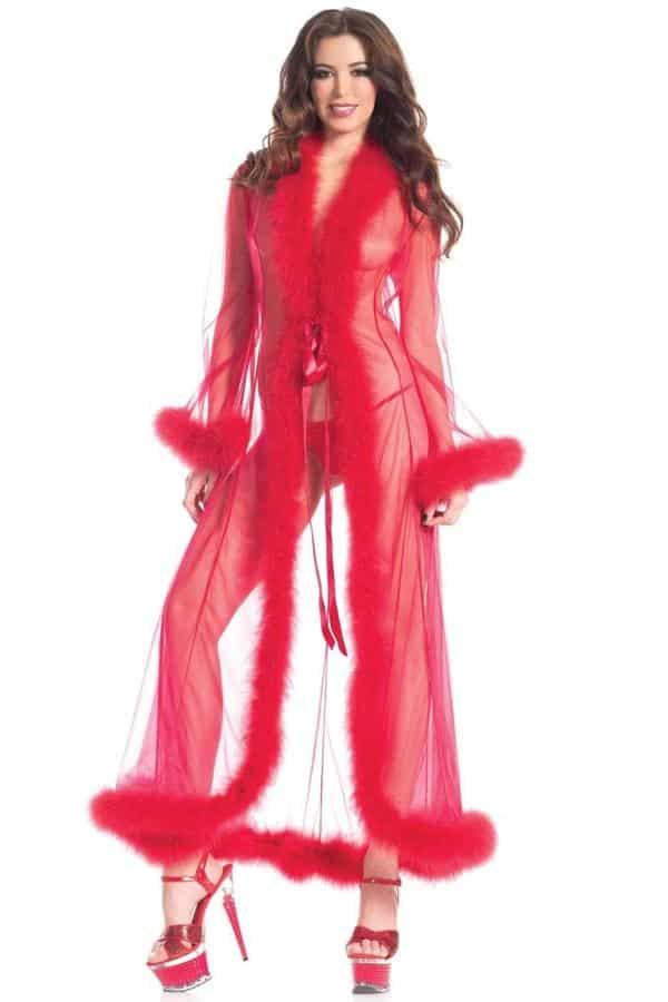 Bedroom Lingerie| Full length marabou robe