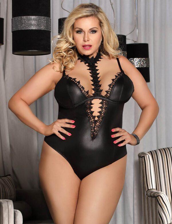 Plus Size Black Leather Choker Neck Teddy