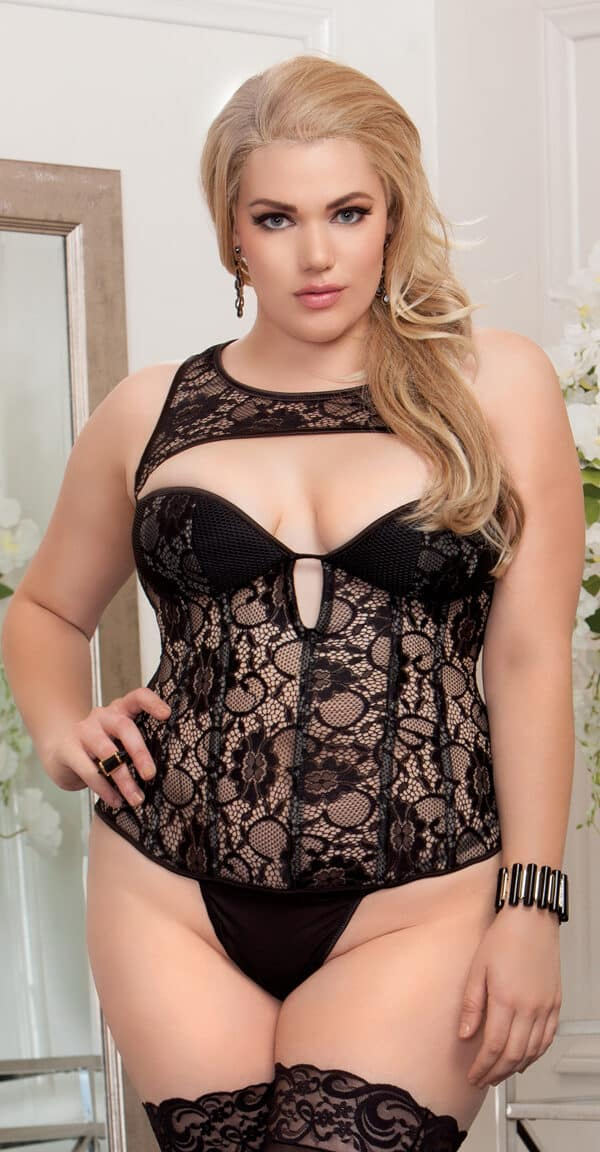 Plus Size Corset & Attached Mesh Neck Piece