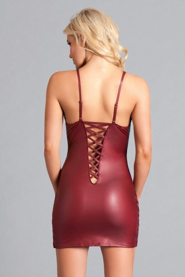 Deep Plunge Maroon Mini Dress