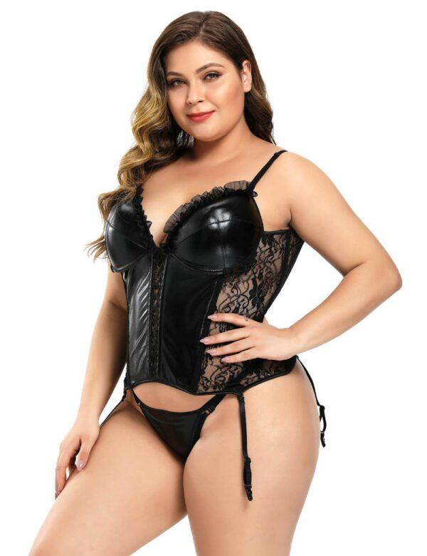 Black Lace Leather Stitching Sexy Corset