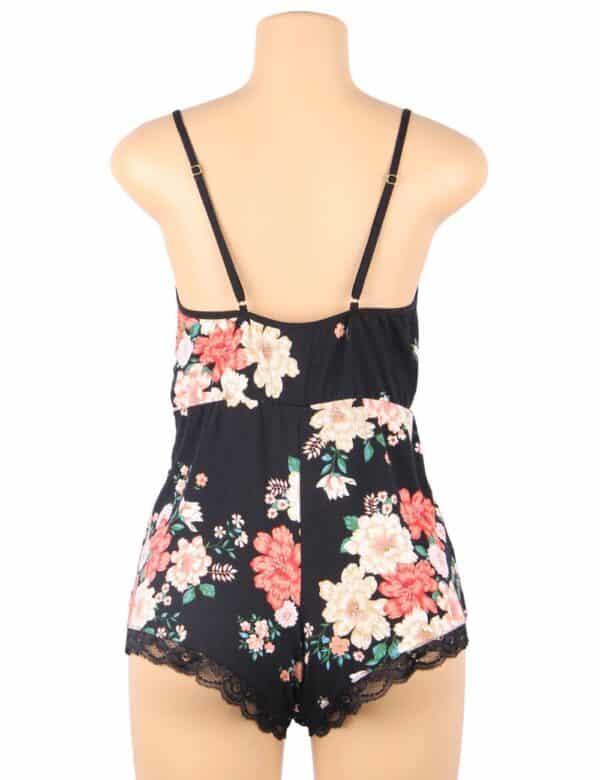 Plus Size Floral print V-neck Backless Pajama Romper Onesies
