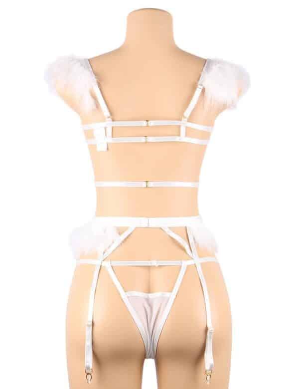 3pcs Embroidery Applique Feather Bra Panty Set