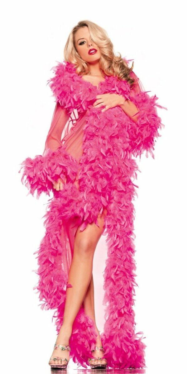 Sheer Full-Length Robe with Chandelle Boa