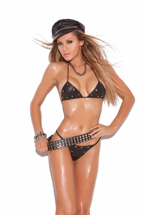 Tantalizing 2 Piece Leather Studded Bra Set