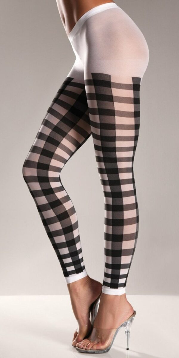 Black Lattice Work Pattern on White Nylon Footless Pantyhose.
